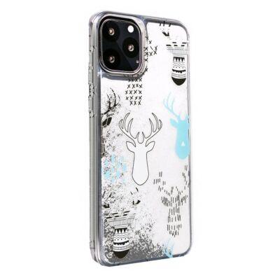 """Tok, Winter Water Case szilikon tok, Apple Iphone 11 Pro (5,8""""), minta 2 (Rénszarvasok), átlátszó, fehér csillámmal"""