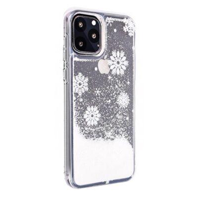 """Tok, Winter Water Case szilikon tok, Apple Iphone 11 (6,1""""), minta 3 (Hópelyhek), átlátszó, fehér csillámmal"""